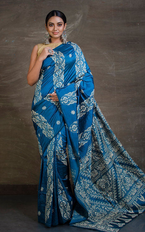 Hand Embroidered Kantha Stitch Saree in Blue and Off White