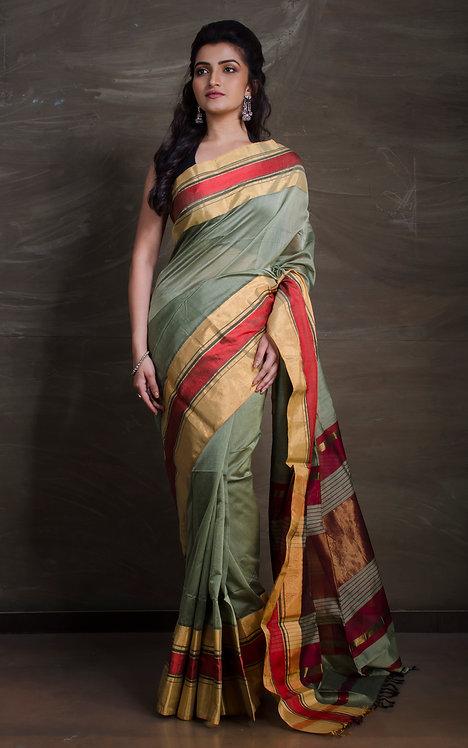 Maheshwari Cotton Silk Saree in Pista Green, Gold and Red
