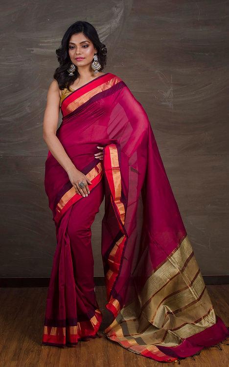 Maheswari Cotton Silk Saree in Magenta