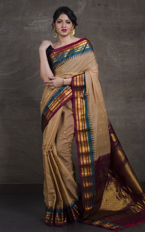 Pure Cotton Silk Gadwal Saree in Brown, Maroon and Teal Green