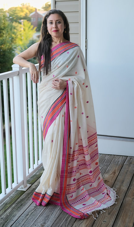 High Thread Count Khadi Section Saree in Off White, Pink and Orange