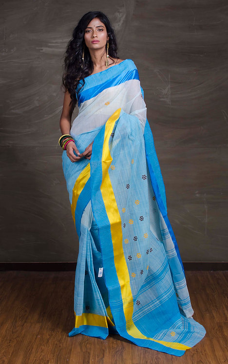 Pure Bengal Handloom Cotton Saree in Blue, White and Yellow