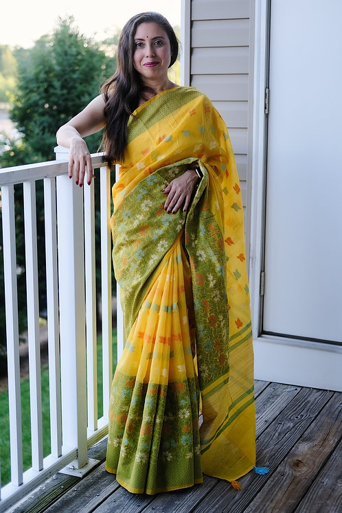 Power Loom Skirt Border Dhakai Jamdani Saree in Yellow and Green