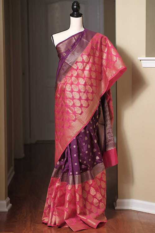 Soft Art Silk Banarasi Saree with Wide Border in Purple, Rose Pink and Gold