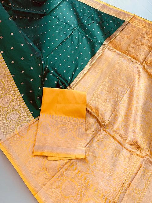 Pure Banarasi Katan Silk Saree in Emerald Green and Yellow