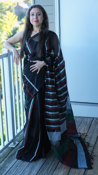 Cotton Saree in Black, Maroon and Gray