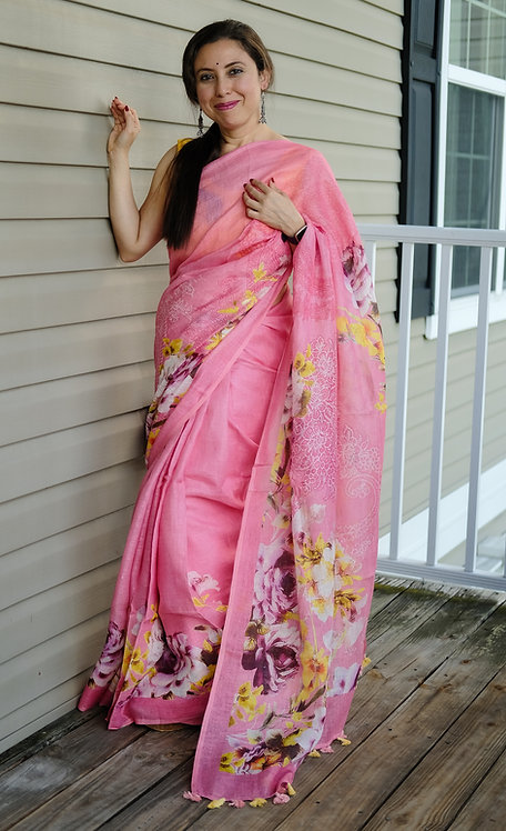 Premium Quality Digital Printed Floral Linen in Pink