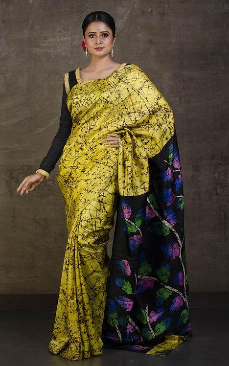 Hand Batik Pure Silk Saree in Pastel Yellow, Brown, Black and Multicolored