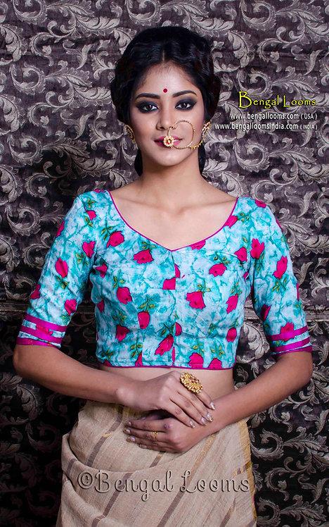 Blue Floral Printed Designer Saree Blouse in Size 36