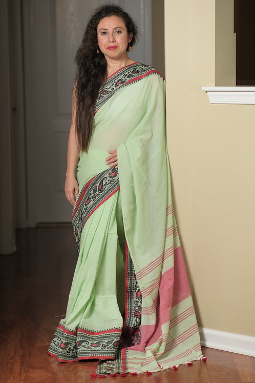 Handwoven Pure Soft Cotton Saree in Sea Green, Black and Red