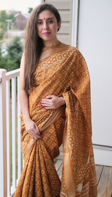 Block Printed Linen Cotton Saree in Brown