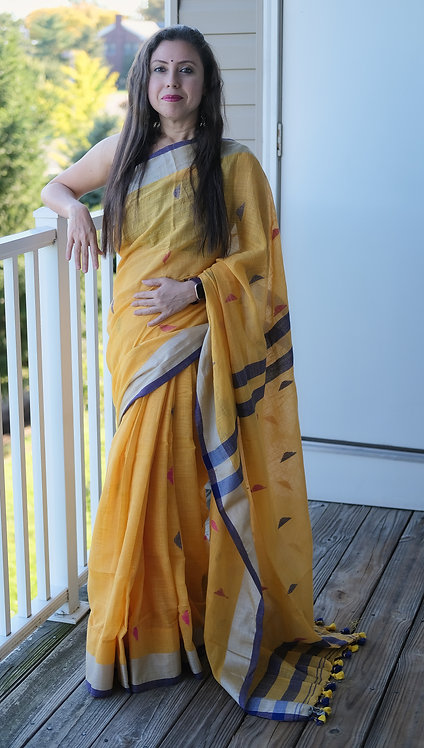 Linen Saree with Silver Border in Yellow and Blue