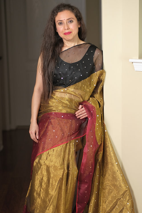 Tissue Muslin Sequin Work Saree in Gold, Red and Black