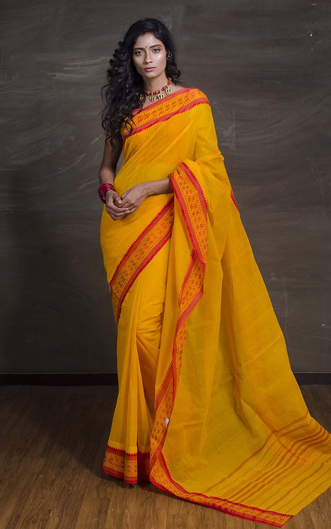 Bengal Handloom Cotton Hazar Buti Saree with starch in Yellow and Red