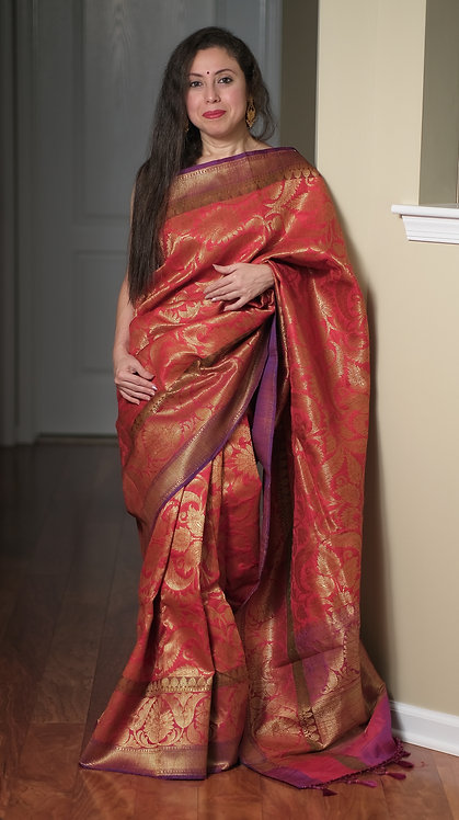 Dupion Tussar Jaal Work Banarasi Saree in Red and Gold