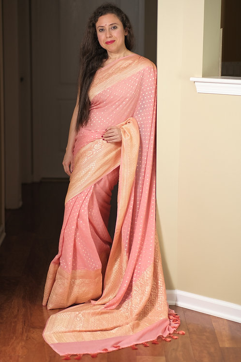 Pure Khaddi Georgette Banarasi Saree in Baby Pink and Gold