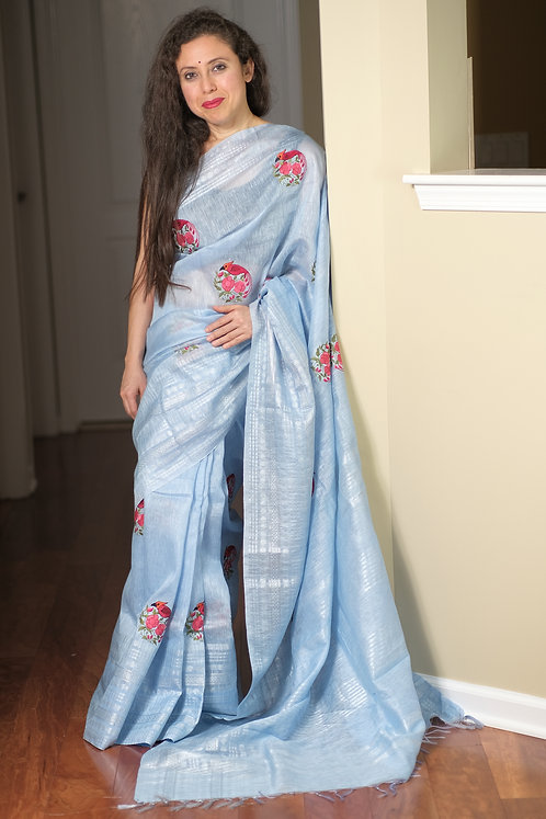 Exclusive Pure Linen Embroidery Saree in Light Blue and Silver