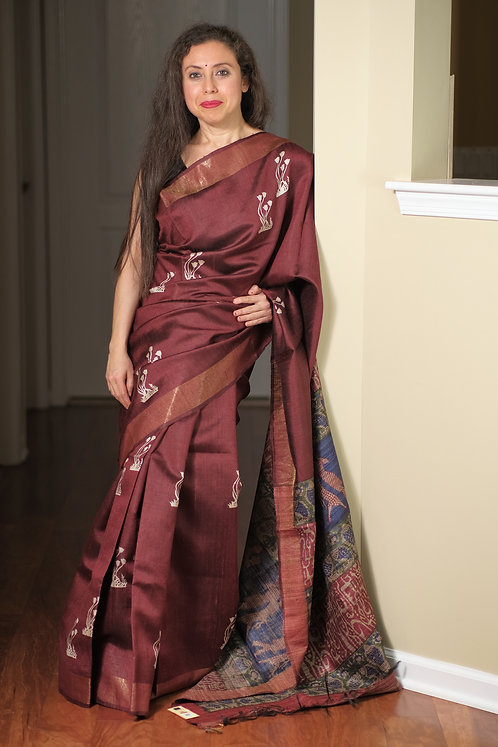 Printed Soft Tussar Silk Saree in Maroon