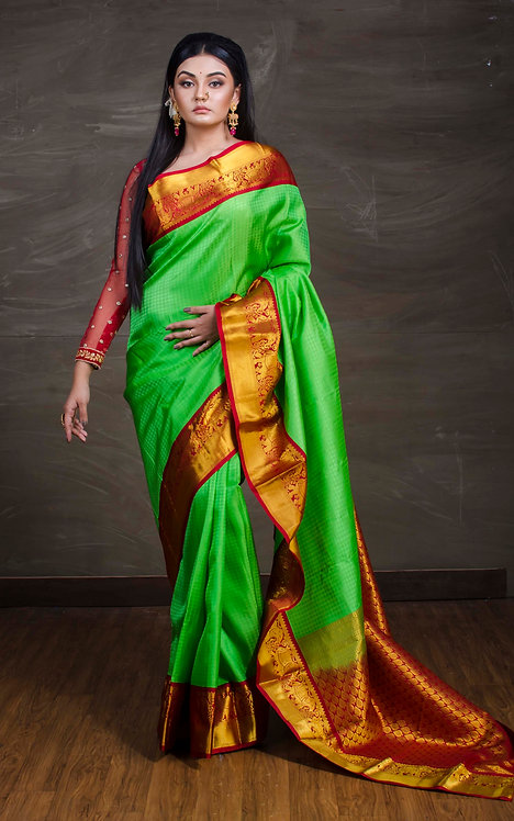 Kanjivaram Silk Saree in Parrot Green, Red and Gold
