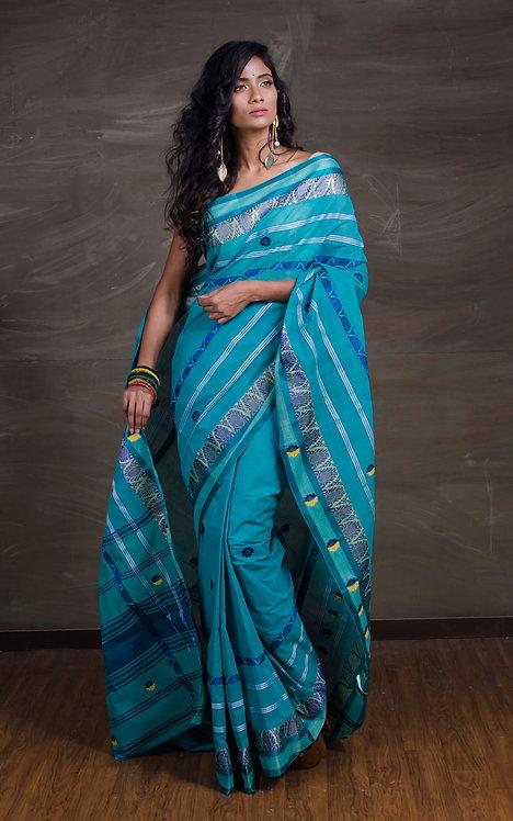 Bengal Handloom Cotton Saree in Turquoise