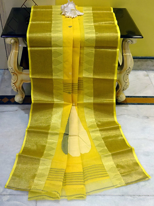 Bengal Handloom Cotton Saree with Starch in Bright Yellow and Off White