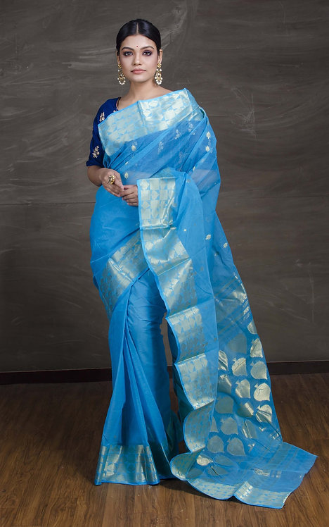 Bengal Handloom Cotton Saree with Starch in Blue and Gold