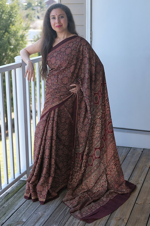 Ajrakh Saree on Pure Modal Silk with Natural Dye in Dark Maroon