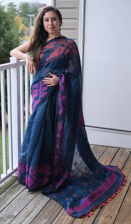 Pure Linen Jamdani Saree in Denim Blue, Orange and Pink