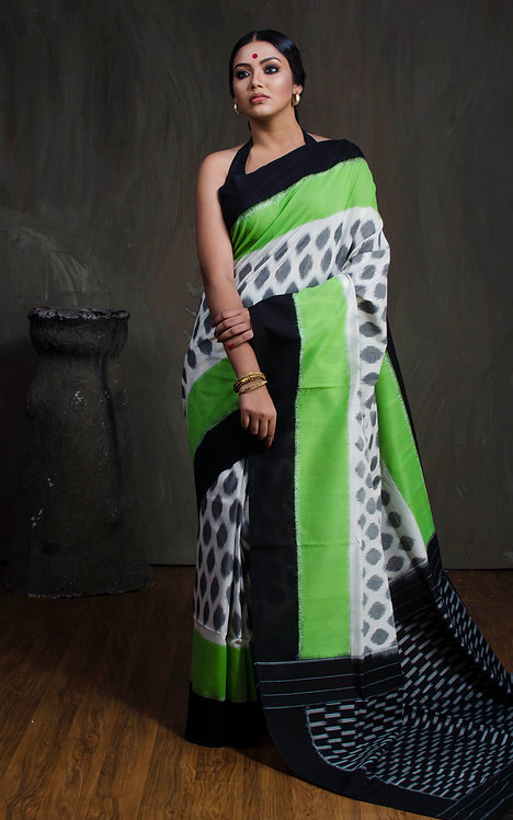 Mercerized Cotton Pochampally Saree in Green, White and Black