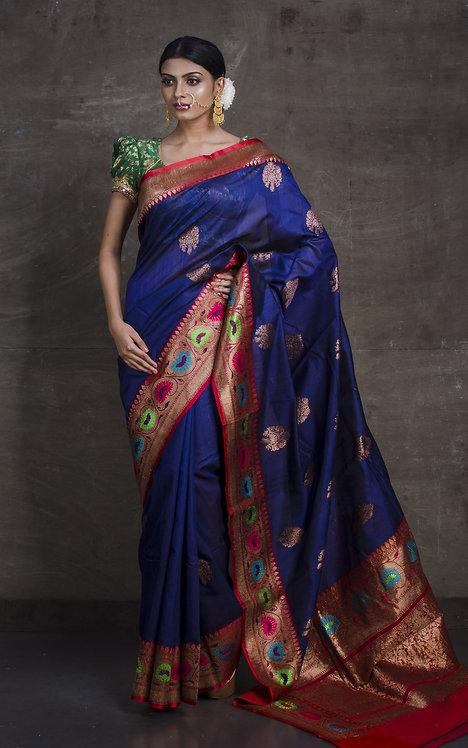 Minakari Pure Tussar Banarasi Saree in Dark Blue and Red