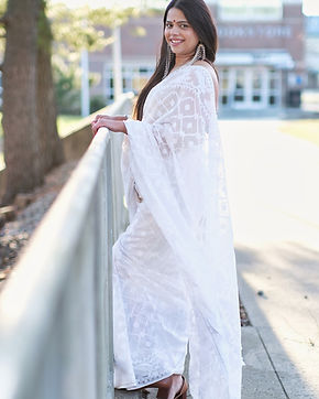 Tima from New Jersey absolutely rocking it in her Soft Jamdani Saree in White from Bengal Looms