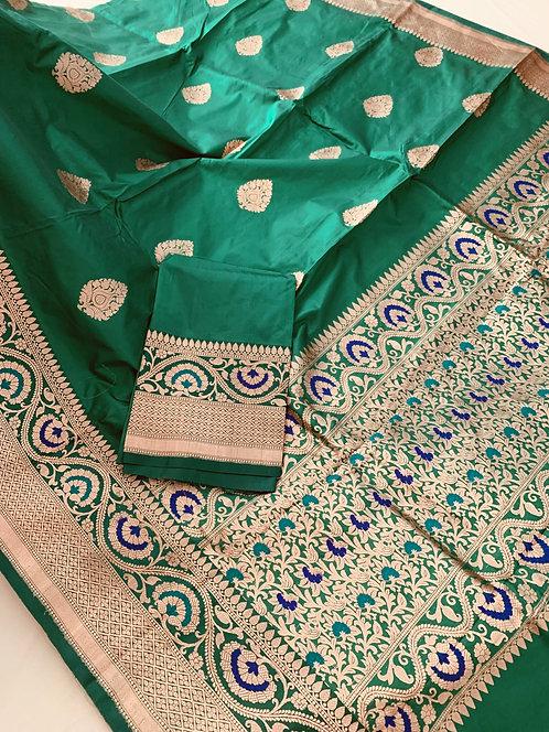 Pure Minakari Banarasi Katan Silk Saree in Emerald Green, Blue and Gold