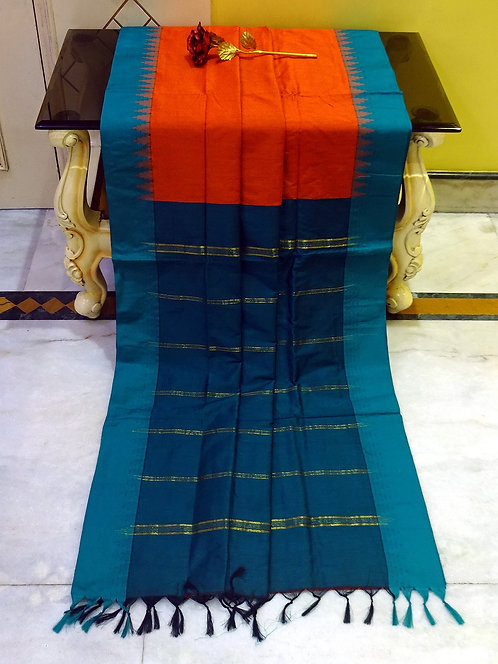 Soft South Cotton Gadwal Saree in Orange and Blue