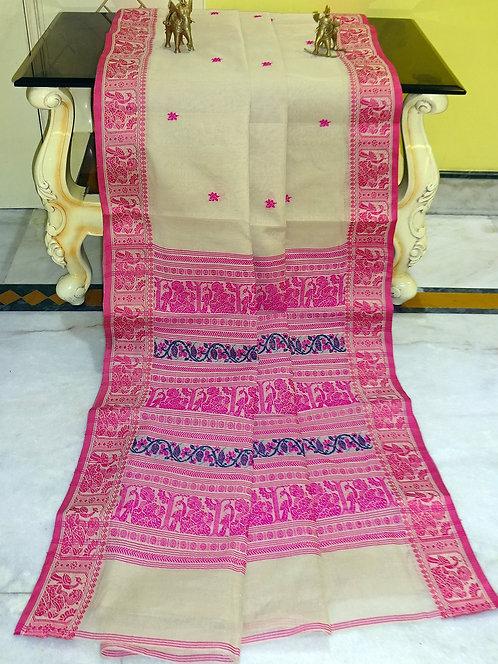 Bengal Handloom Cotton Baluchari Saree with Starch in Beige , Pink and Blue