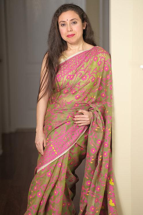 Soft Jamdani Saree in Green, Yellow and Pink