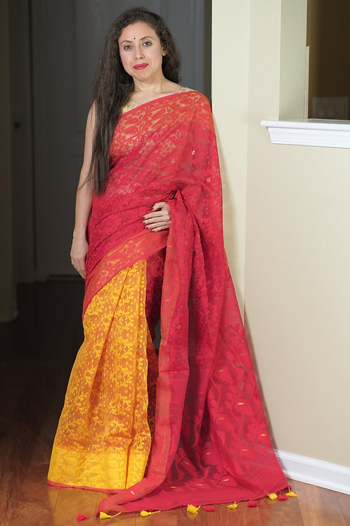 Half and Half Soft Jamdani Saree in Yellow and Red