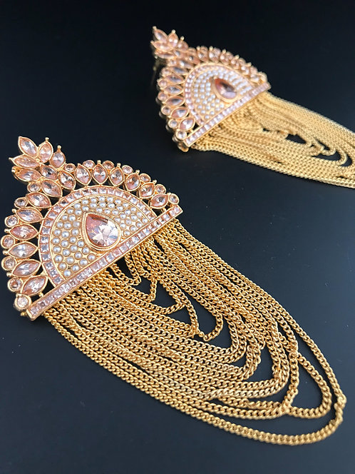 Pure Kundan Earrings with Stones and Pearl Settings
