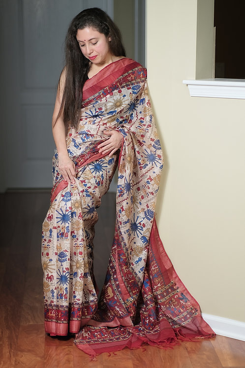 Block Printed Linen Cotton Saree in Off White and Dark Red