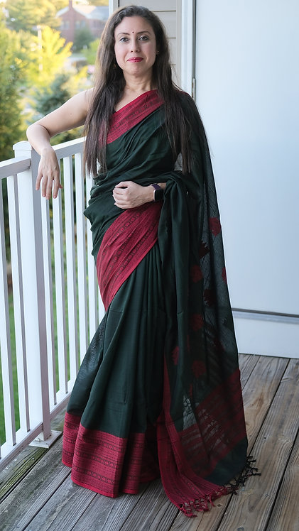Soft Cotton Saree in Bottle Green And Dark Red