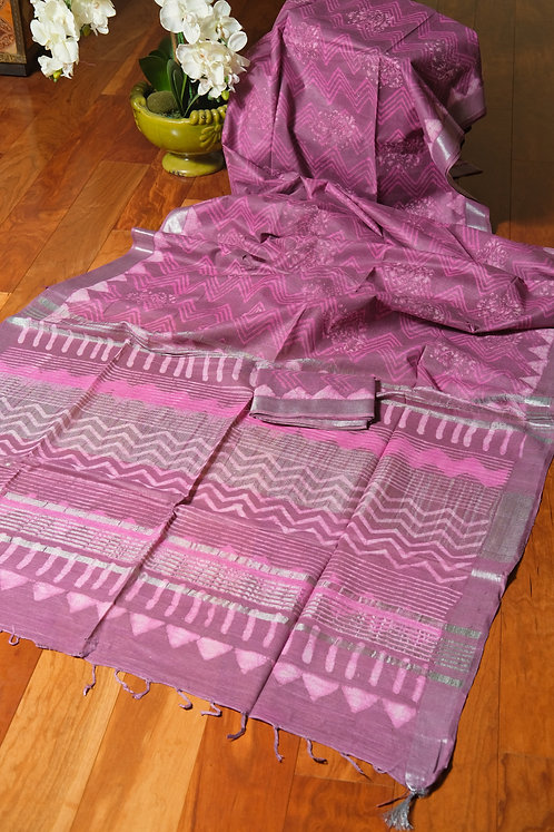 Dabu Printed Hand Block Cotton Linen Saree in English Purple, Pink and Silver