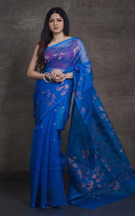 Muslin Jamdani Saree in Cerulean Blue and Copper Zari Work
