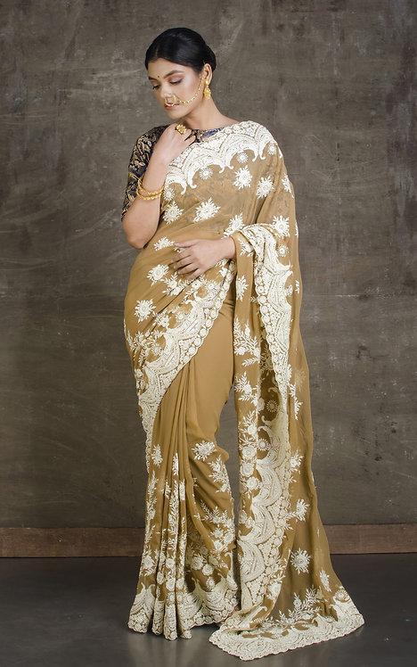 Lucknow Chikankari Designer Saree in Brown and White