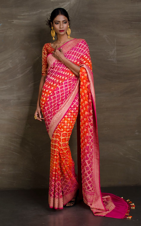 High Quality Pure Bandhani Georgette Banarasi Saree in Pink and Orange