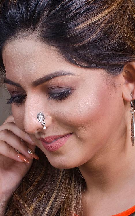 Pure Silver Ganesha Nose Pin