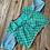 Printed Cotton Rama Green Sari Blouse in Size 36