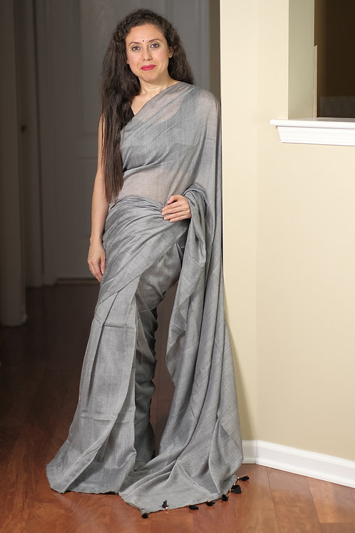 Soft Cotton Saree in Gray