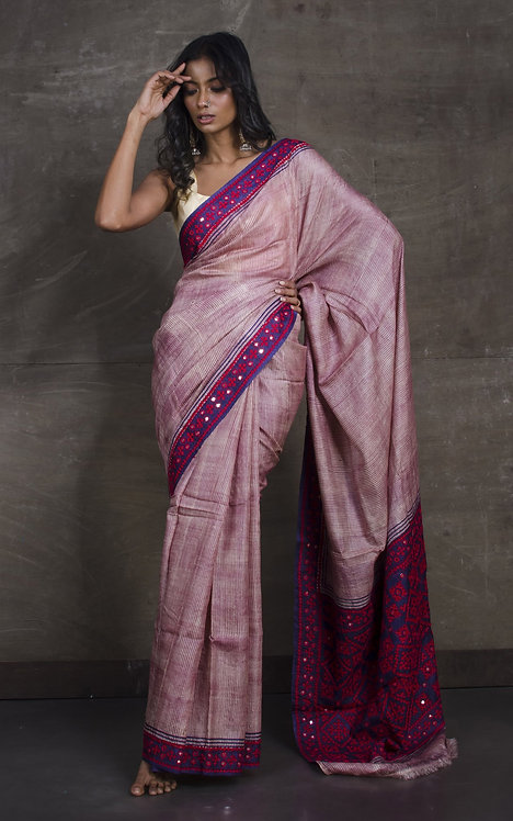 Exclusive Tussar Embroidery Saree in Pink, Beige, Red and Midnight Blue