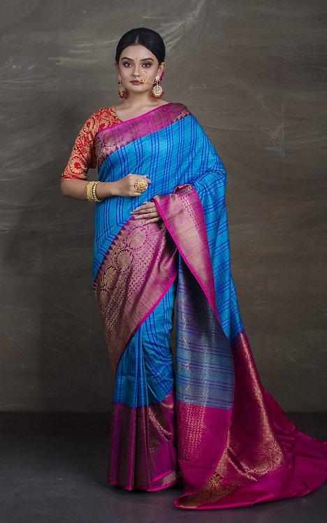 Skirt Border Pure Dupion Tussar Banarasi Saree in Blue and Magenta