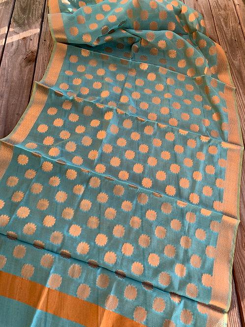 Cotton Silk Banarasi Dupatta in Blue and Gold