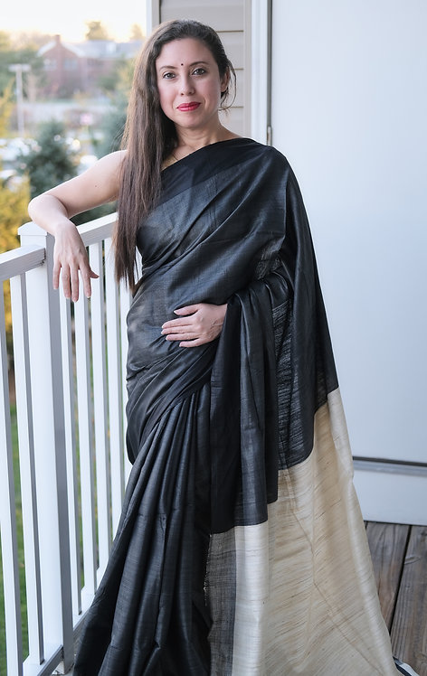 Tussar Silk Saree in Charcoal Black and Off White